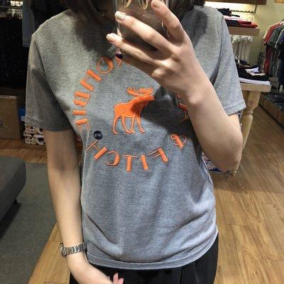 【蟹老闆】100%真品 Abercrombie&Fitch A&F 青年版短袖 橘色刺繡大鹿 灰色