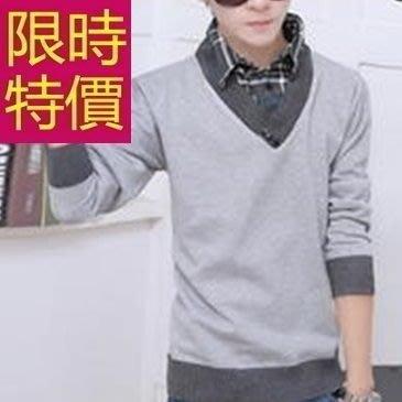 假兩件式襯衫 造型質感-優雅品味長袖男毛衣3色59ac42[韓國進口][米蘭精品]