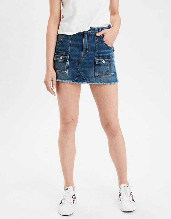 【BJ.GO】 AE HIGH-WAISTED FESTIVAL DENIM SKIRT 高腰口袋牛仔短裙