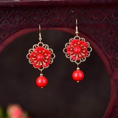 MAMAmi古店 中國風紅色耳環新年過年耳墜個性氣質民族風復古耳飾配飾新款冬季