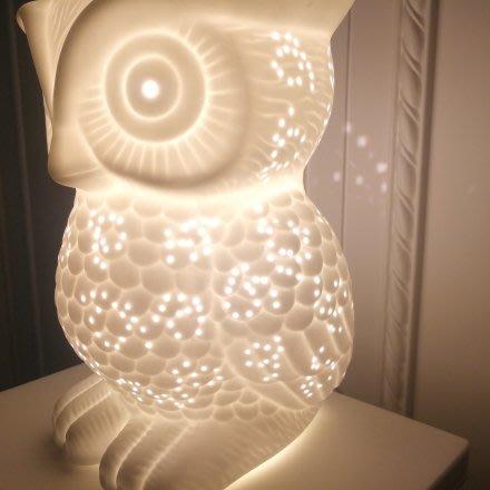 白色透光陶瓷貓頭鷹造型桌燈(大)-療癒系(療癒系)