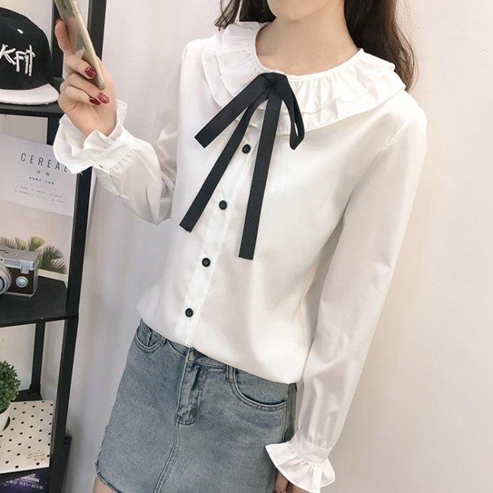 一件免運 秋裝日系甜美白襯衫女正韓系帶娃娃領喇叭袖娃娃衫學生襯衣寬鬆