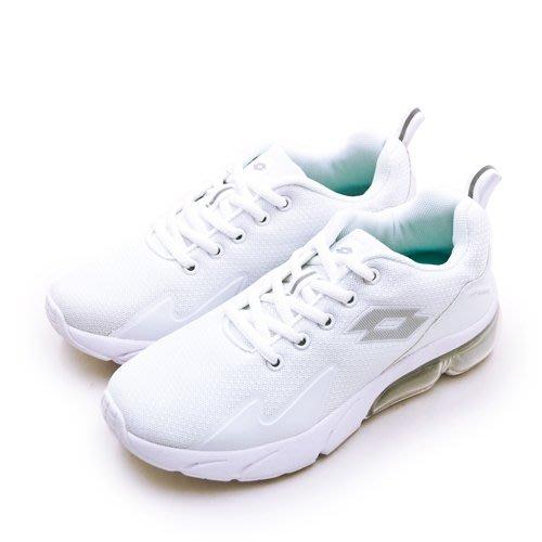 利卡夢鞋園–LOTTO 專業避震氣墊慢跑鞋--VOLARE RUN系列--白色學生鞋--白灰--1009--女