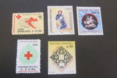 【雲品】克羅地亞Croatia 1994 Sc RA45,RA48,RA49-RA51 set MNH 庫號#76693
