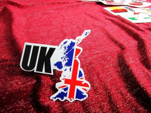 【國旗貼紙專賣店】英國旗地圖抗UV、防水貼紙/UK/世界多國款可收集和訂製