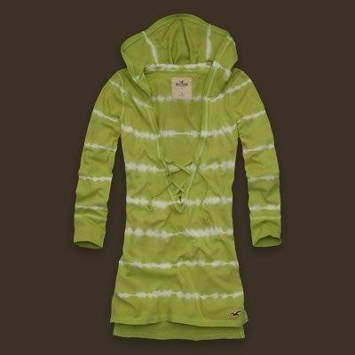 大降價!新美國帶回 Hollister Country Line 淺綠色白染色條紋七分袖帶帽上衣,低價起標無底價!免運費