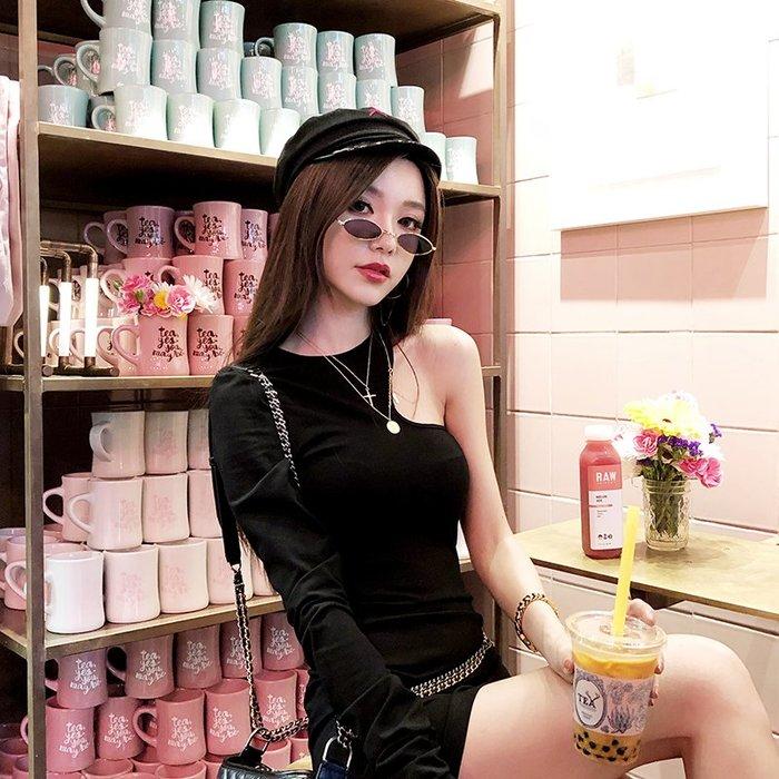 ❤Princess x Shop❤韓版新款露肩彈力打底連衣裙長袖黑色連身裙子DL8092918正韓國連線外套毛衣洋裝針織