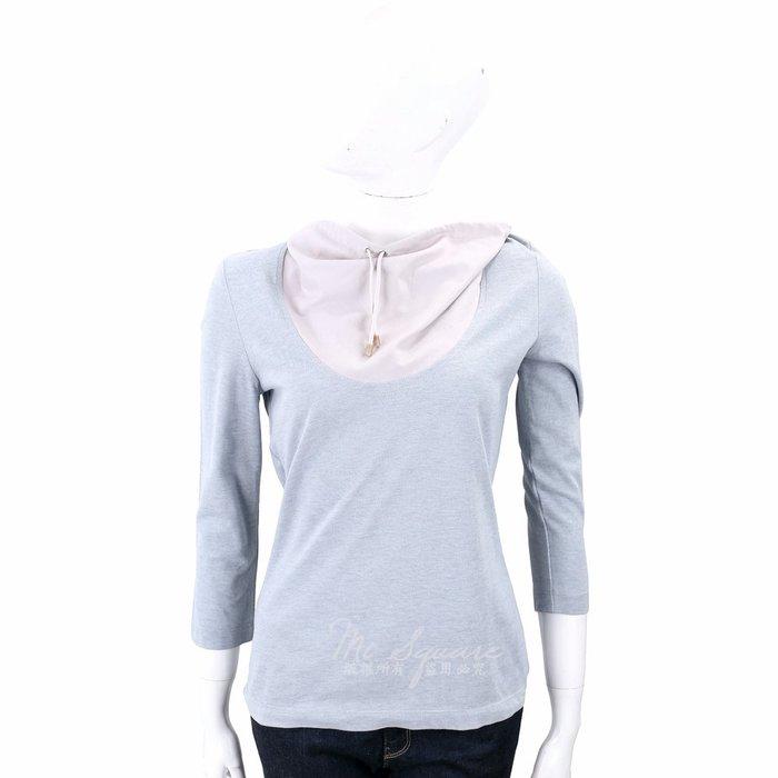 米蘭廣場 FABIANA FILIPPI 抽繩鬆領拼接七分袖上衣(灰藍x粉) 1320193-23