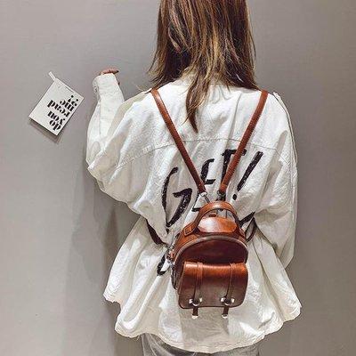 『全場免運』mini 後背包包女新款韓版百搭復古簡約軟皮小背包~清風小鎮