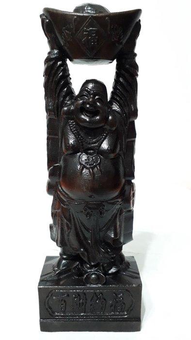 【九龍藝品】沉木 ~ 彌勒佛財神 ~ 百財納福.高約21.5公分