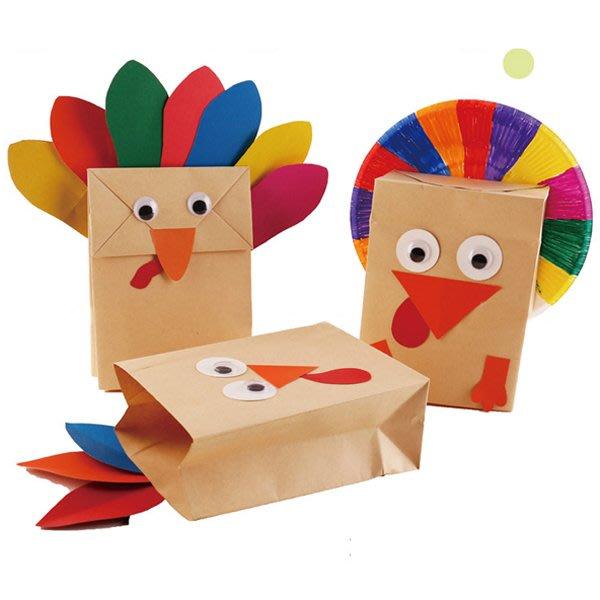 感恩節DIY手做火雞造型牛皮紙袋手偶【JC3492】《Jami Honey》