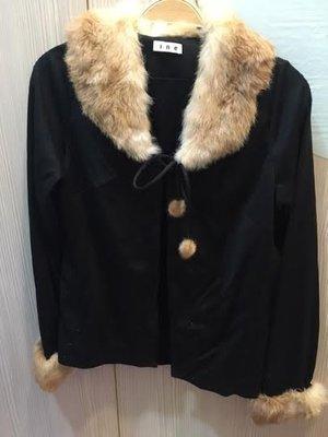 小花別針、專櫃【INE】綁帶毛毛領毛衣外搭罩衫外套