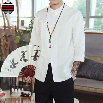 中國風盤扣七分袖襯衫男亞麻薄款上衣服民族風復古寬松襯衣