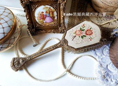 黑爾典藏西洋古董~英國老式刺繡玫瑰黃銅手拿古董刷/梳妝台/古董擺飾Vintage英國鍍銀復古