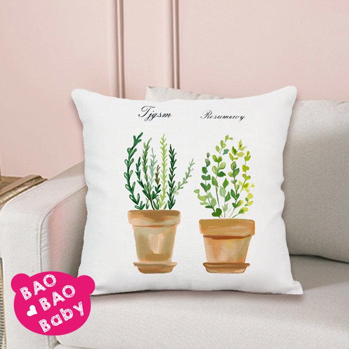 【寶貝日雜包】植物盆栽抱枕套 植物枕套 沙發抱枕 靠枕 夏日植物抱枕 枕套 方型抱枕 小盆栽抱枕