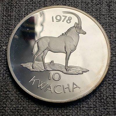 【八方緣】(各國錢幣、銀幣)馬拉維1978年10克瓦查WWF精製紀念銀幣-褐馬羚 CCQ0978
