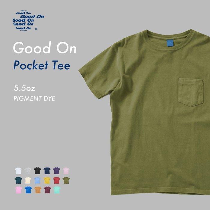 WaShiDa【GOST0903P】Good On 日本品牌 染色 5.5oz 美國棉 口袋 素面 短袖 T恤