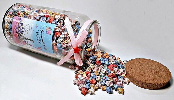 〔免運〕幸運星 大許願瓶 心願瓶 玻璃瓶 高23.5 × 直徑12(公分) 重1330公克 含軟木塞瓶蓋及數不完的紙星星
