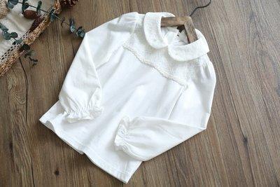 【Mr. Soar】 C252 秋季新款 歐美style童裝女童蕾絲白色長袖上衣 中大童 現貨