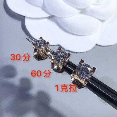 卡地亞 Cartier 單鑽 耳環 30/60/1克拉 三種尺寸