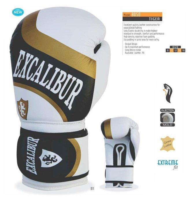 【神拳阿凱】Excalibur 8050/01 牛皮 拳擊手套 真皮 拳套 白金 12oz(免運)