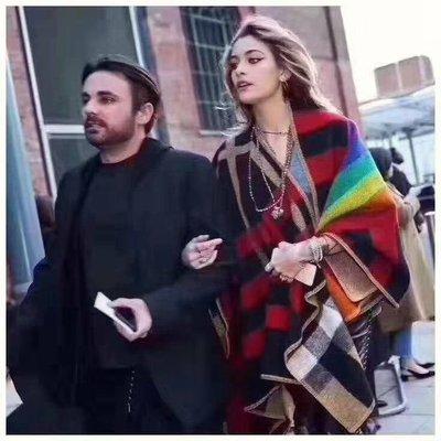 英倫Burberry拼色彩虹不規則斗篷 披肩 披毯 Luxe boutique pre-order deposit