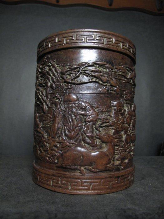 老銅雕◎  福祿壽翁  浮雕 筆筒擺件