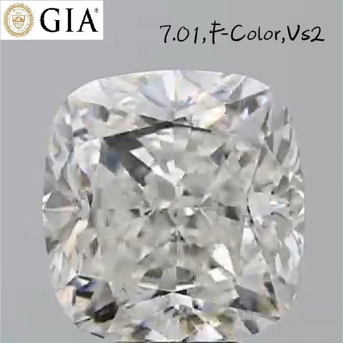 【台北周先生】極品 巨無霸 天然白色鑽石7.01克拉 超乾淨VS2 國際GIA認證F-color 璀璨耀眼 座墊切割