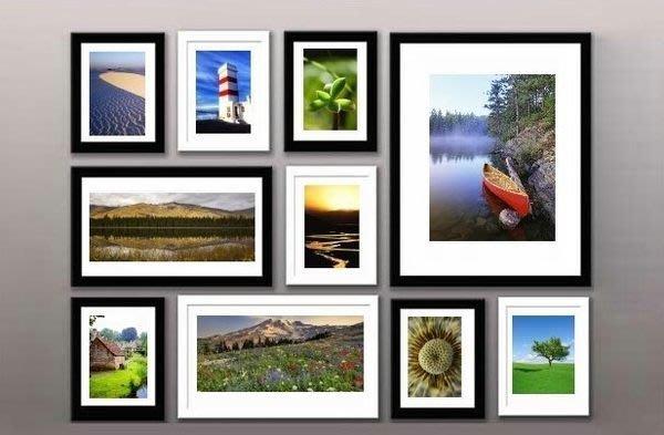 網購破盤價-實木 相框 相片牆 相框 10框混搭相框組- 送相框專用藍丁膠!!