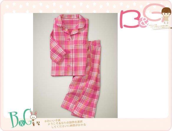 【B& G童裝】正品美國進口GAP粉紅色格子長袖長褲睡衣組18-24mos,2yrs