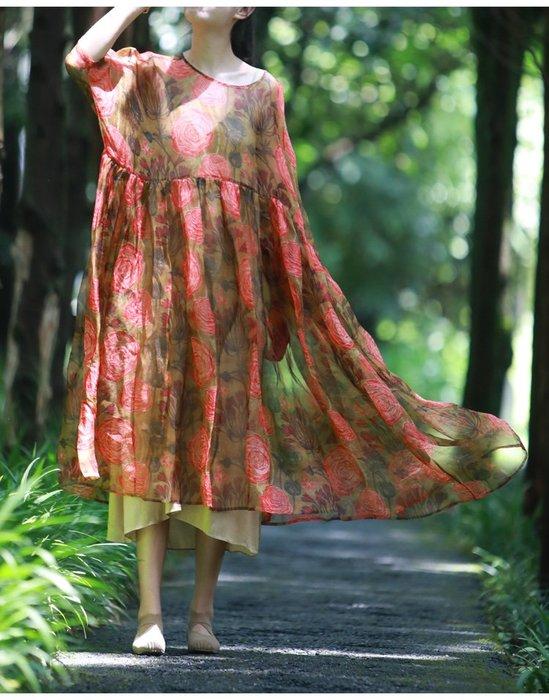 *菇涼家*晓寒 真丝歐根纱連衣裙罩衫裙超仙纱裙子女 夏季新品
