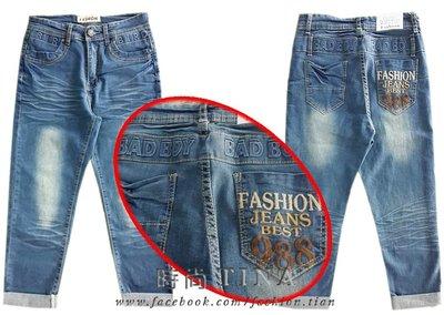 時尚TINA中大尺碼【3562】BAD BOY 造型牛仔反摺褲《S》現貨/特價出清