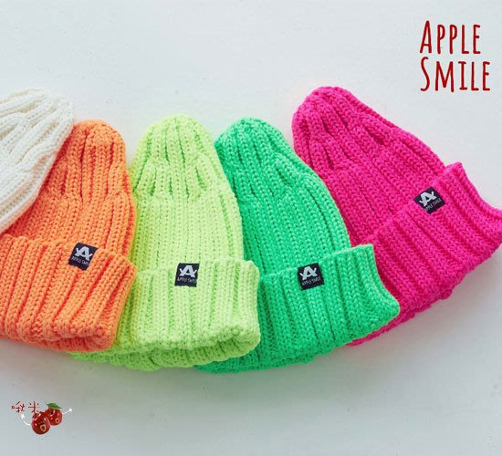 啾米韓國童裝♪~20冬~AppleSmile~柔軟彈性豆豆帽~AP1019-21