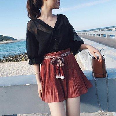 俏皮洋氣雪紡衫闊腿短裙兩件套女學生時尚套裝潮【快速出貨】