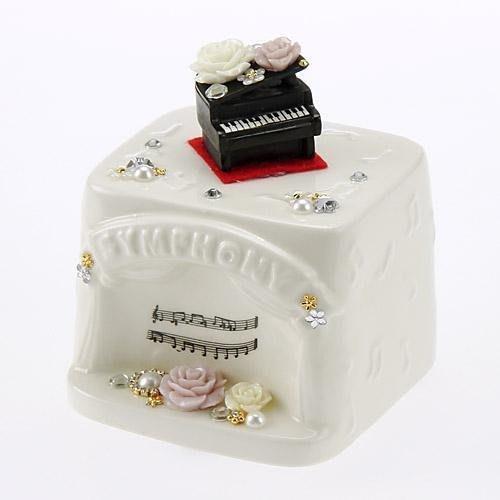 ~~凡爾賽生活精品~~全新日本進口立體玫瑰瓷花鋼琴造型白瓷存錢筒.撲滿~日本製