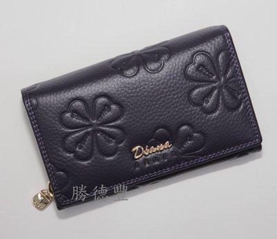 【免運】 DIANA 黛安娜 真皮拉鍊中夾 女生皮夾 真皮皮夾 DJ346-6紫色