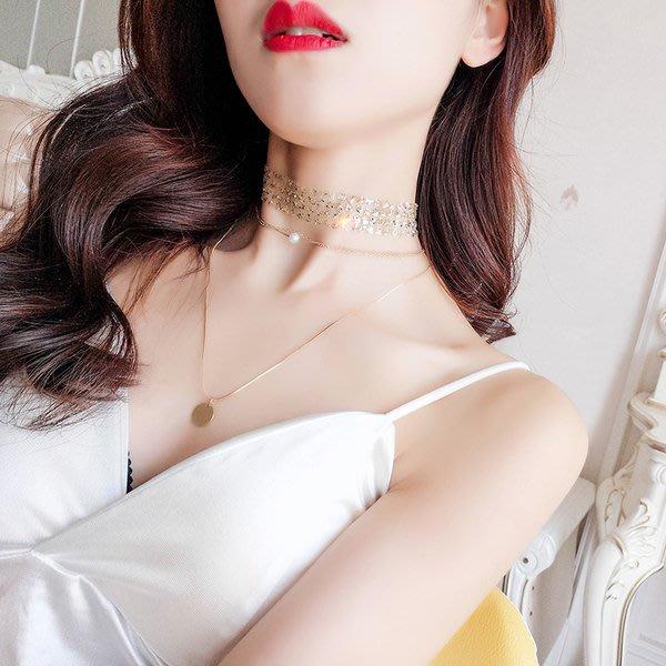 【TT】歐美誇張金屬亮片多層鏈條珍珠隱形項鏈日韓脖子飾品鎖骨鏈頸鏈女