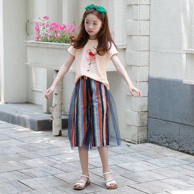 中大童 優質 女童【Q寶童裝】夏款 DM-367 動物短袖上衣+彩色條紋網紗闊腿褲 套裝