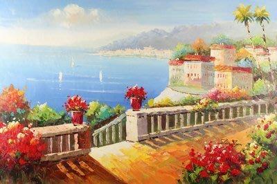 三幅一組油畫布 地中海風格風景海景 畫芯/畫布/40X60☺暖暖屋☺傢居藝術館