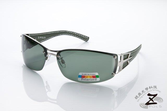 ☆Z-POLS專業代理新款偏光鏡☆金屬份量時尚感 復古寬版框皮革設計質感款 寶麗來偏光 太陽眼鏡,送眼鏡盒
