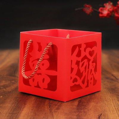 西柚姑娘雜貨鋪☛中式婚禮創意喜糖袋 中國風燙金喜字結婚回禮手提袋 婚慶喜糖盒子