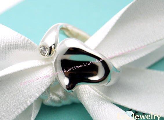 《Eco-jewelry》【Tiffany&Co】稀有款葉心鑲鑽開口戒指 純銀925戒指-多種尺寸可選擇~專櫃真品已送洗