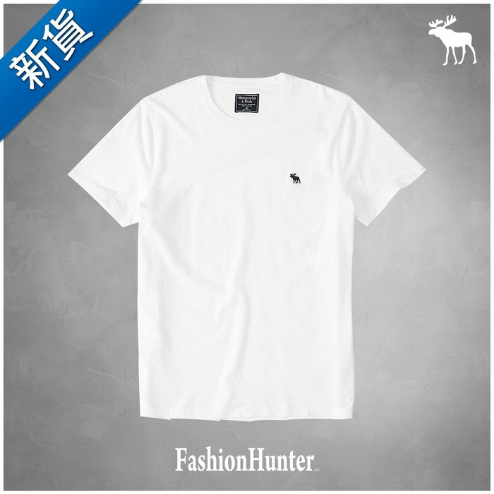 新貨【FH.cc】A&F 素t 圓領素面 短袖T恤 官網款 白 刺繡麋鹿 HCO