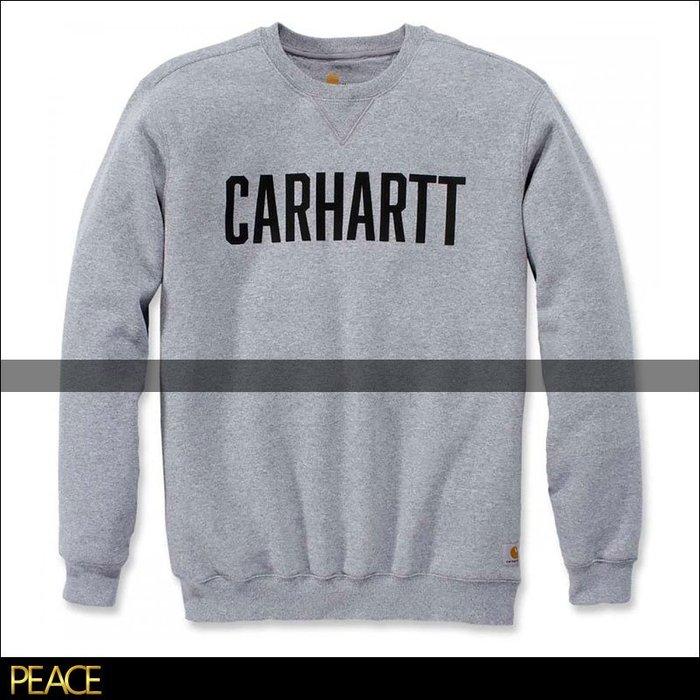 【PEACE】美國真品 Carhartt 103853 Block 大logo 淺灰色 大學T 素面 素色 刷毛