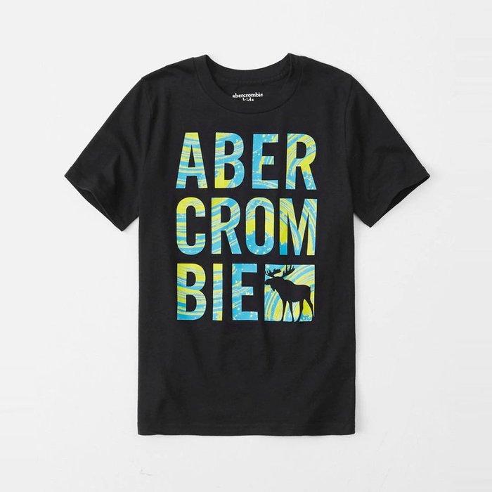 【abercrombie kids】【a&f】af男童款短袖T恤藍綠漆印大字鹿黑 F07190717-10
