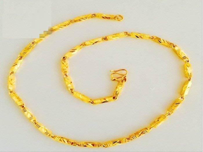 19號0032寬約2mm長44公分 新款24K鍍金首飾 男/女 通用 迷你六棱柱刻邊 鍍金項鍊