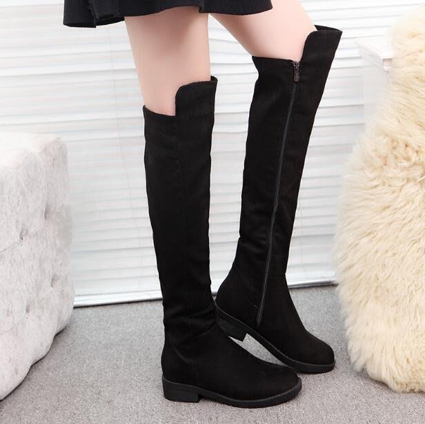 過膝靴 大碼新款平底側拉鏈長靴子 加絨保暖棉靴長筒騎士靴—莎芭