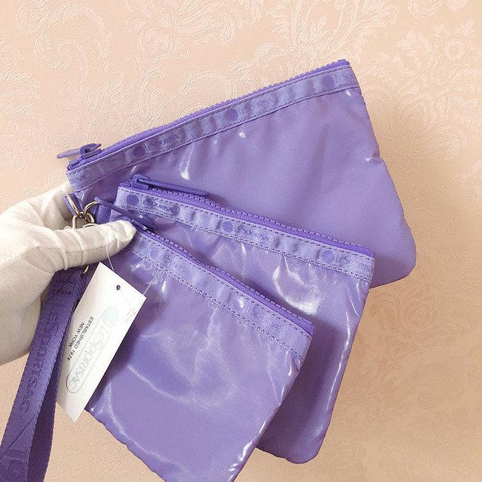 Lesportsac 漆皮紫 降落傘防水 3455 三件組 附掛繩 拉鍊化妝包收納包 卡片 零錢 鑰匙 推薦 限量回饋