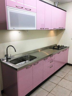 晶潔廚具 粉色不鏽鋼流理臺 夢幻結合實用 ~木芯桶+結晶五面門+白鐵檯面上下櫃250CM搭喜特麗三機