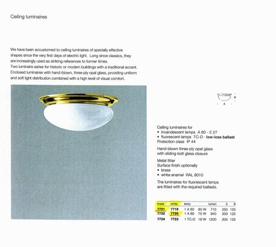 德國名牌 LIMBURG CEILING MOUNTED LUMINAIRES FOR 1 X A60 60W E27 LAMP MODEL NO. 7721
